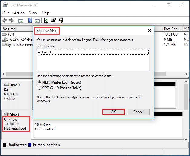 Initialise disk | Fix Hard Drive Not Showing up in Windows 10
