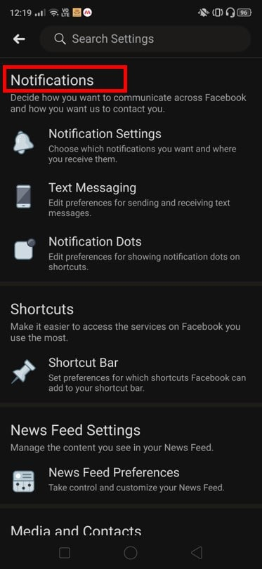 Keep scrolling till you reach the Notifications option.