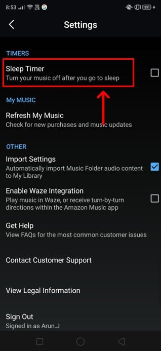 Keep scrolling till you reach the Sleep Timer option. | Automatically Turn Off Music On Android