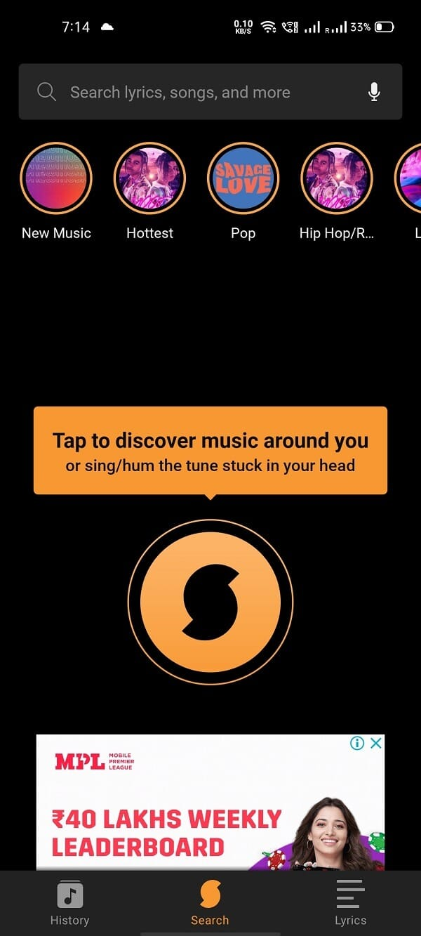Launch the application, you can see the SoundHound logo on the homepage