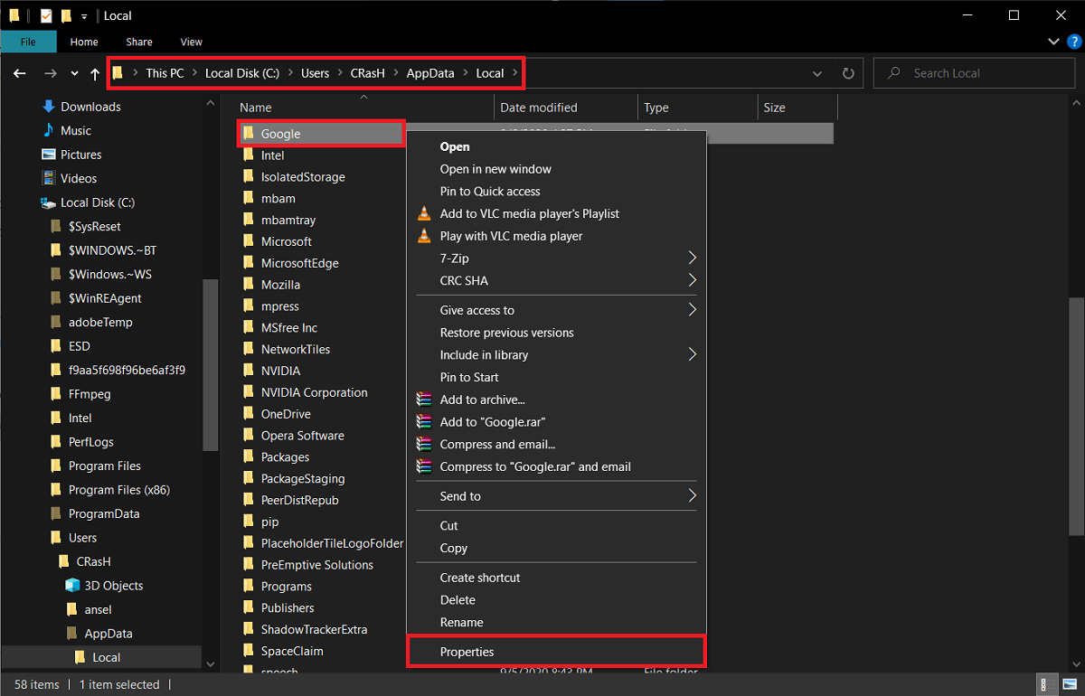 Locate the Google sub-folder and right-click on it. Select Properties