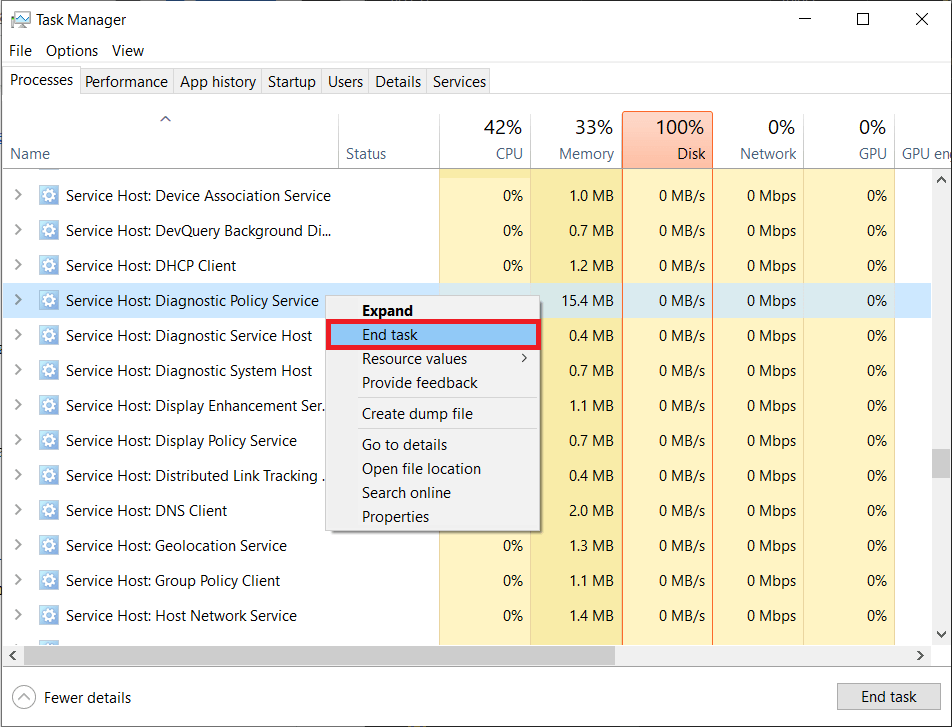 Locate the Service Host Diagnostic Policy Service under Windows processes and right-click on it. Select End task.