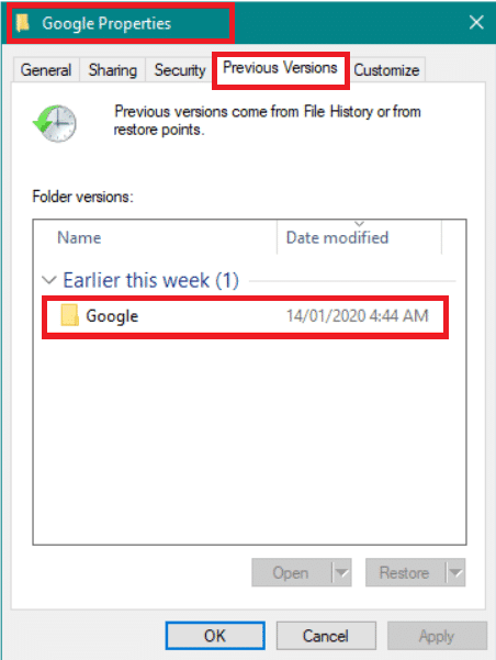 Move to the Previous Versions tab of the Google Properties window.| How to Recover Deleted History On Google Chrome?