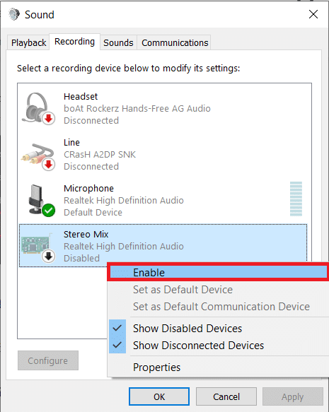 Move to the Recording tab