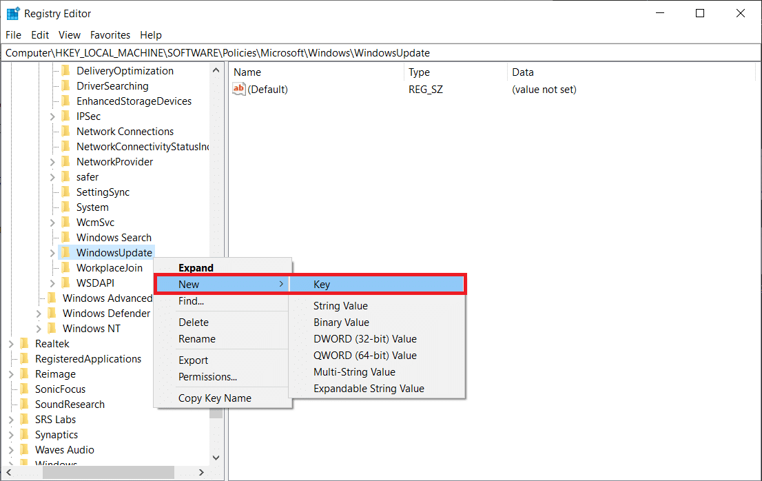 Now, right-click on the new WindowsUpdate folder and select New Key again. | Stop Automatic Updates on Windows 10