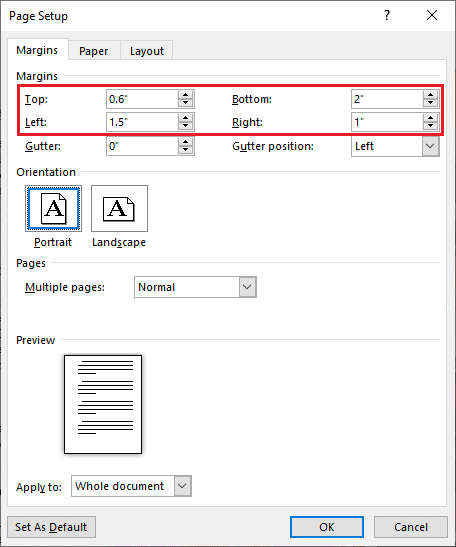 On the Margins tab, individually set the top, bottom, left, and right side margins