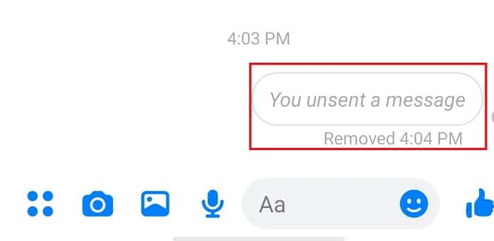 """Once you have deleted a message, it will be replaced by the """"You unsent a message"""" card."""
