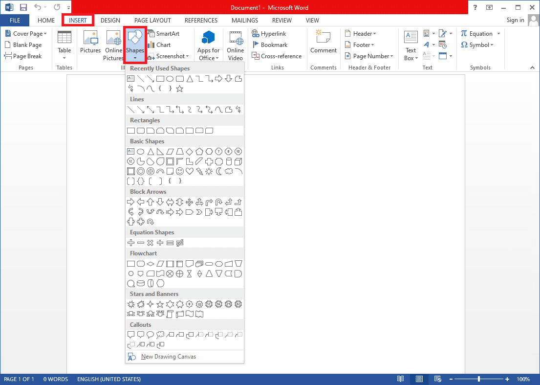 Once you have the document open, switch to the Insert tab. | Draw in Microsoft Word