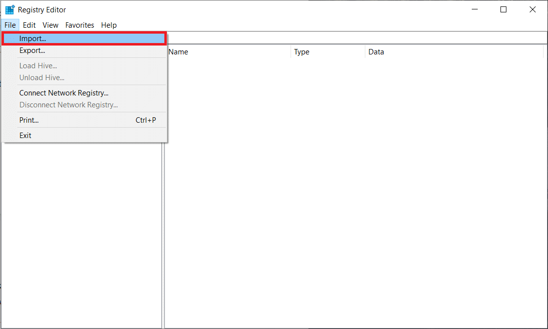 Open Registry Editor and click on File. Select Import | Fix Corrupted Registry in Windows 10