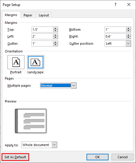 Open the Page Setup dialog box, enter the margin and gutter size, select a gutter position, and click on the Set as Default button at the bottom-left corner