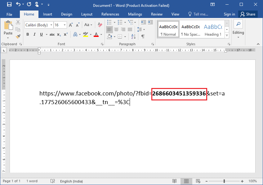 Paste the link address on any text editor | See Hidden Photos On Facebook