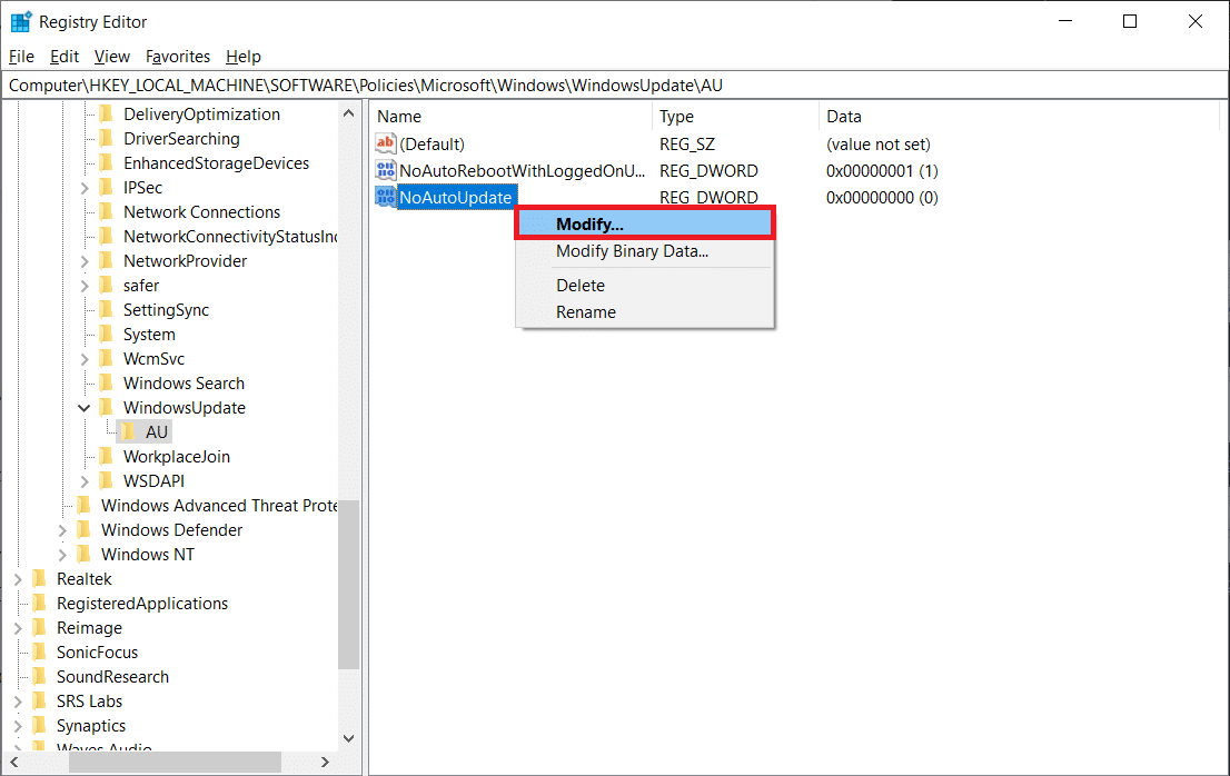 Right-click on the NoAutoUpdate value and choose Modify (or double-click on it to bring up the Modify dialog box).