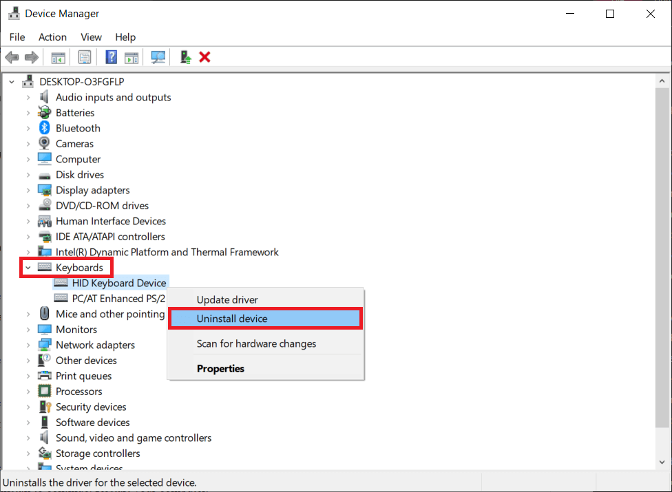 Right-click on your computer keyboard and select Uninstall Device   How To Reset Your Keyboard To Default Settings In Windows 10?