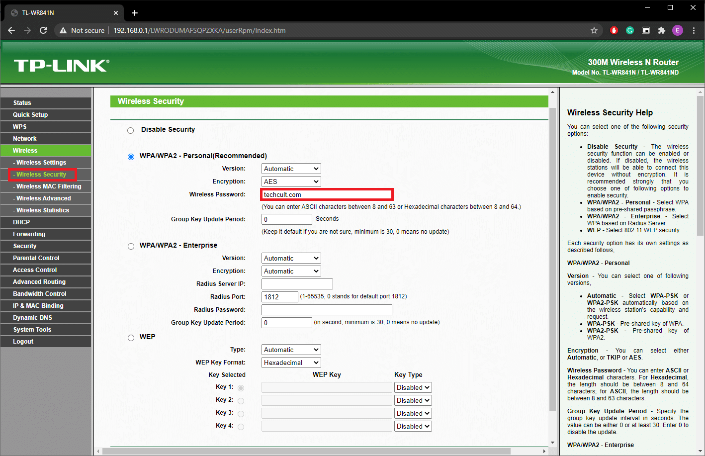 Router's Admin Page