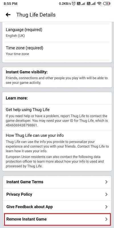 Scroll down and tap on 'Remove Instant Game.' | How To Delete Thug Life Game From Facebook Messenger