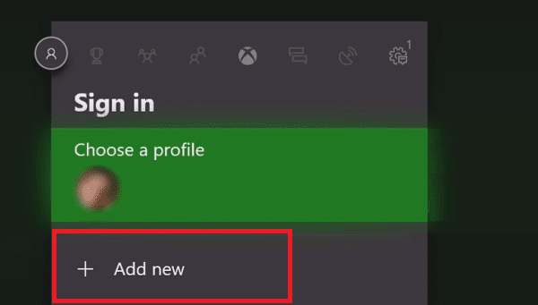 Scroll over and select the Sign In tab then click on Add New in Xbox