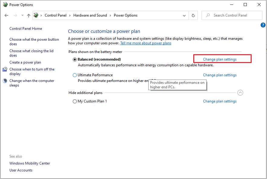 Select 'Change plan settings' beside the option of 'balanced (recommended)