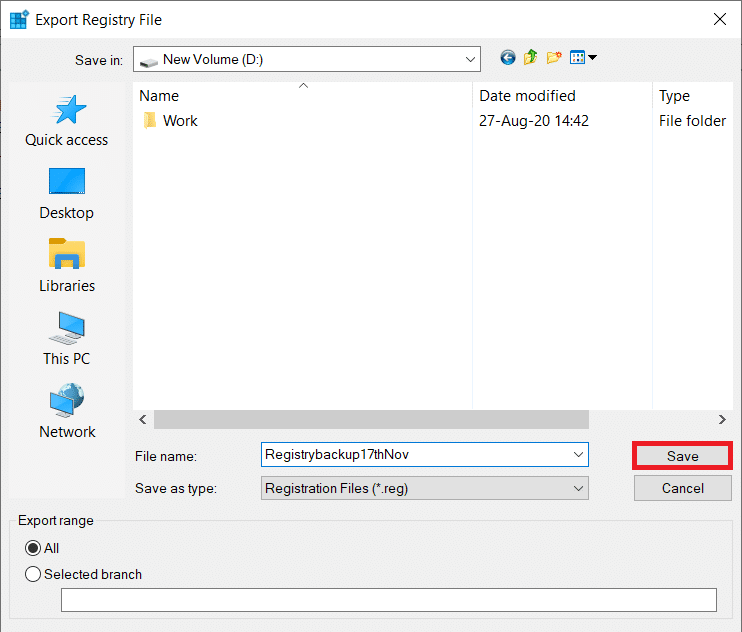 Select an appropriate location to export the registry