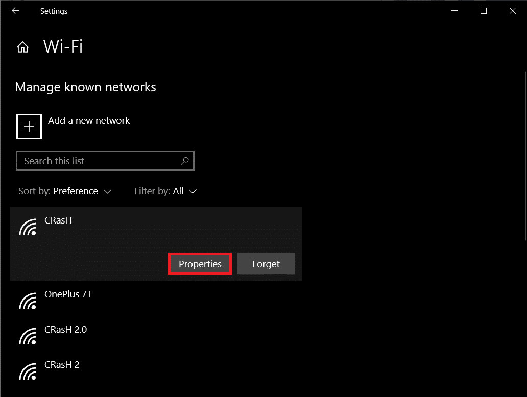 Select your home Wi-Fi network and click on the Properties button. | Stop Automatic Updates on Windows 10
