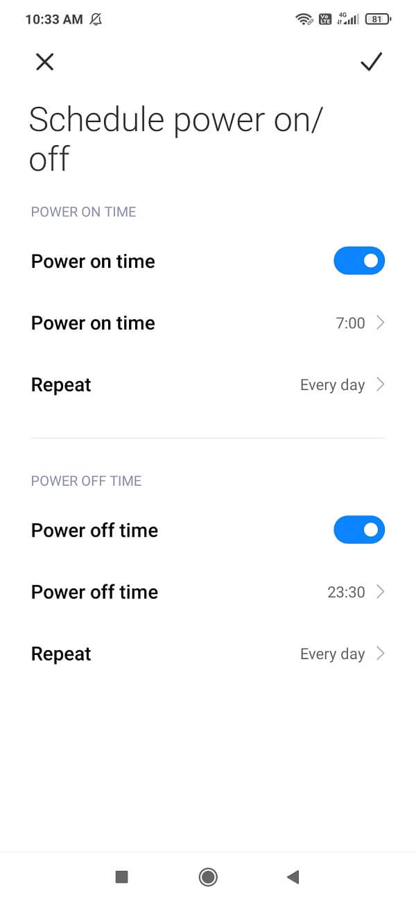 Set the on and off time for your smartphone