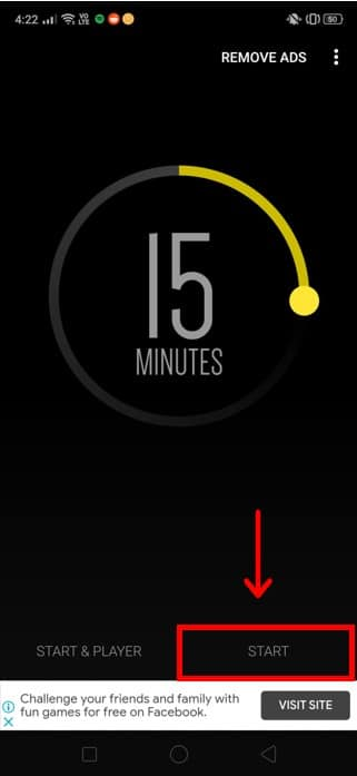 Set the timer for your preferred duration and press Start.