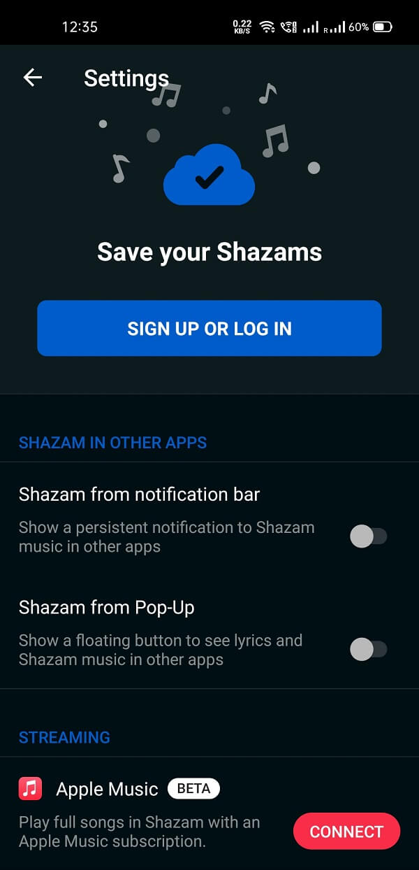 Shazam also offers a pop-up feature, which you can activate at any time