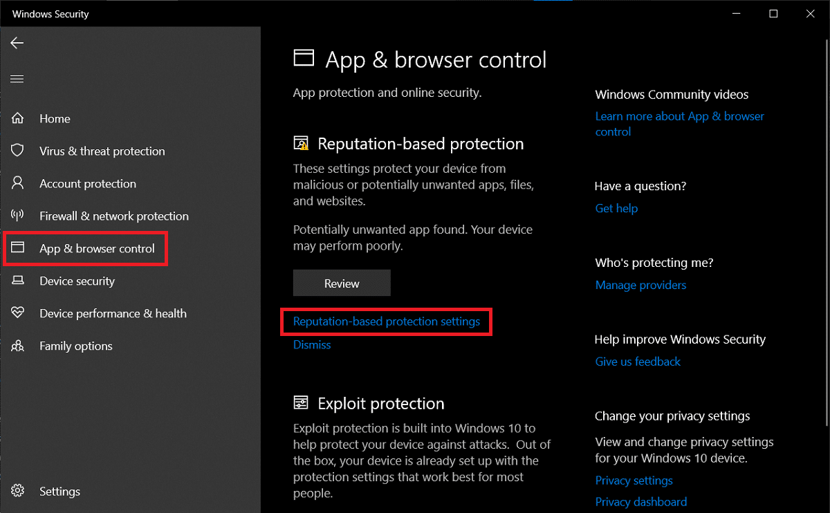 Switch to the App & browser control tab and click on Reputation-based protection settings