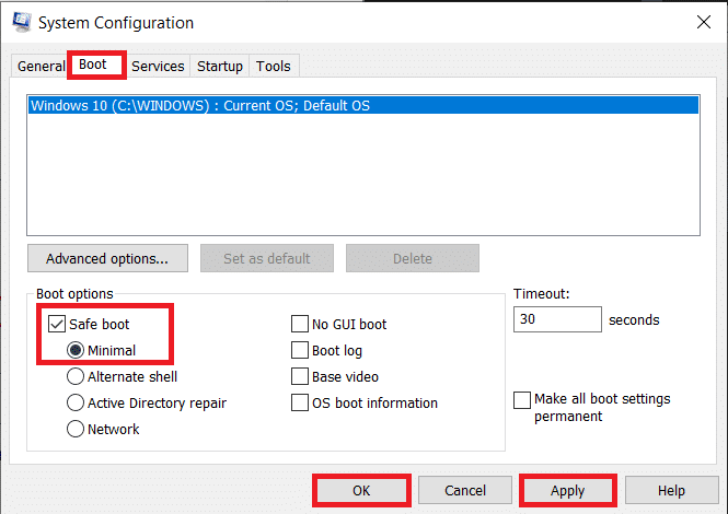 Switch to the Boot tab and under Boot options, tick the box next to Safe boot
