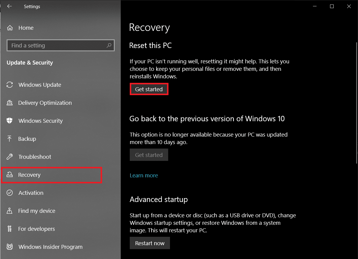 Switch to the Recovery page and click on the Get Started button under Reset This PC.