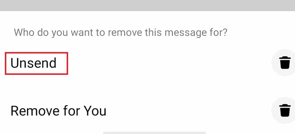 Tap on 'Unsend' if you want to delete the selected message for both sides | Permanently Delete Facebook Messenger Messages from Both Sides