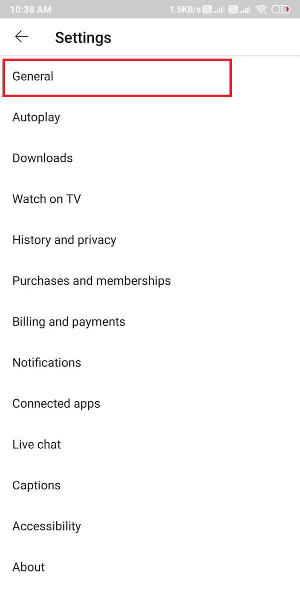 Tap on the General settings. | What is YouTube Restricted Mode, and How to enable it?