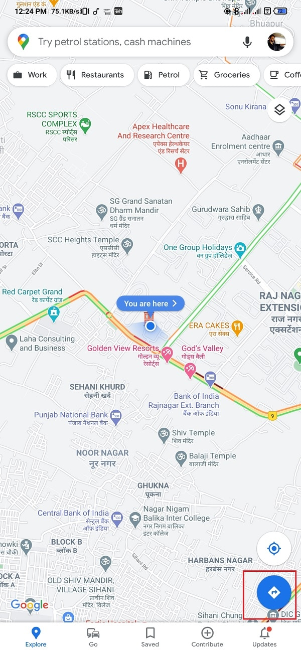 Tap on the navigation arrow. Now, you will get into navigation mode. Check The Traffic On Google Maps