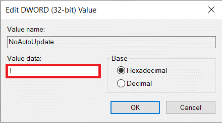 The default value data will be 0, i.e., disabled; change the value data to 1 and enable the NoAutoUpdate.