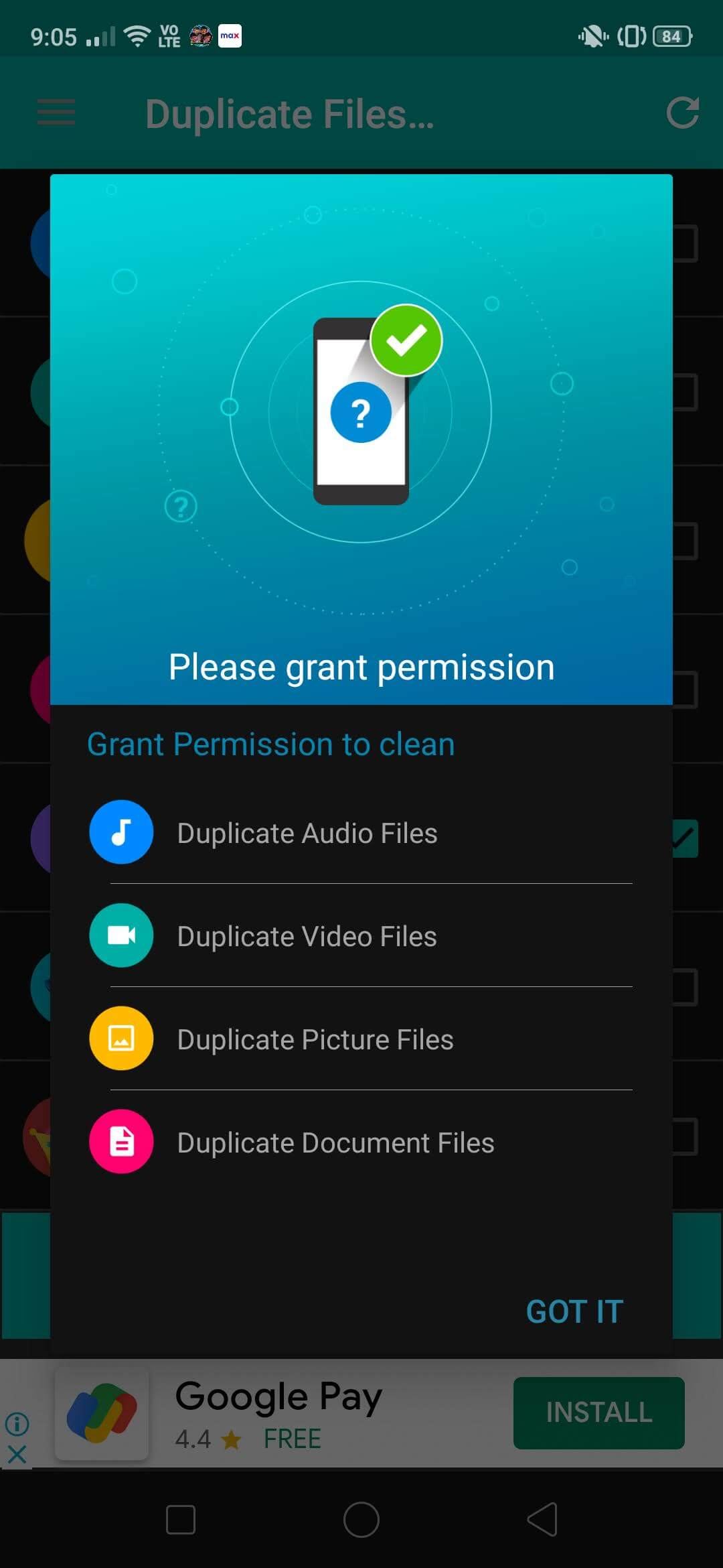This application will check for duplicates of photos, videos, audios, and all documents in general.