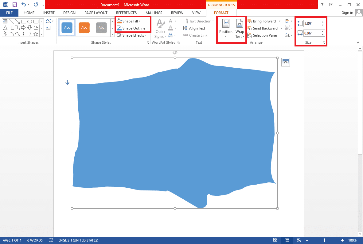 To change your diagram's outline color, click on Shape Outline, and select a color.