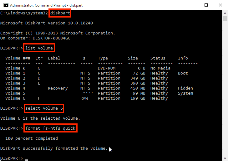 Type list disk or list volume and press Enter