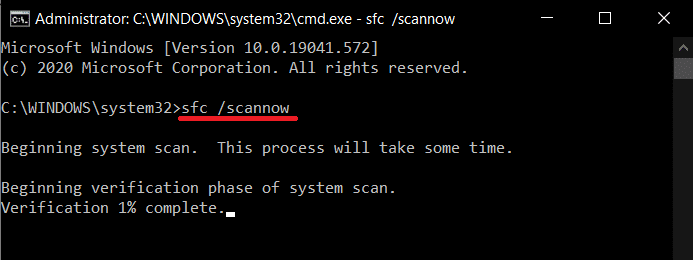 Type sfc scannow in the Command Prompt window and press enter to execute.