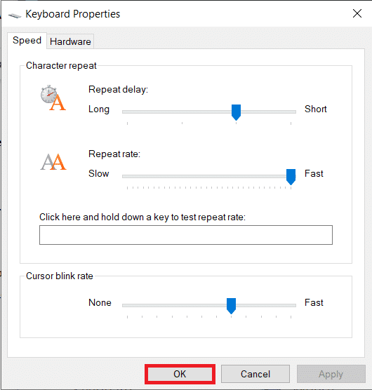 adjust the Repeat Delay and Repeat rate sliders on the Speed tab