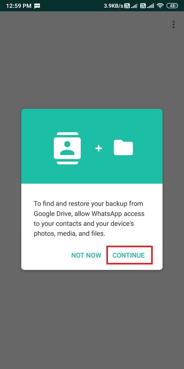 allow WhatsApp access to your contacts, media, photos, and other files.