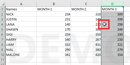 bring your mouse cursor down to the edge of the line | swap columns or rows in Excel