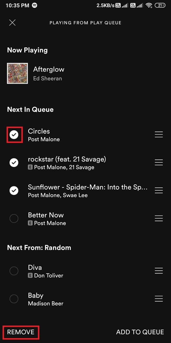 checkmark the circle next to each song and click on 'Remove'