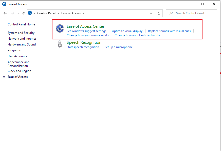 click on Ease of access center. | Fix black desktop background in Windows 10