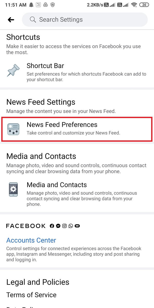 click on News Feed Preferences