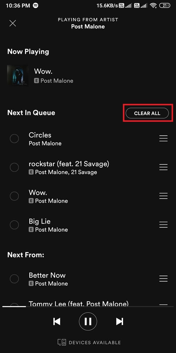 click on 'clear all' from the screen.| How To Clear Queue In Spotify