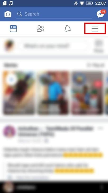 click on the Menu bar at the right top corner of the page. | How To Find Birthdays On Facebook App?