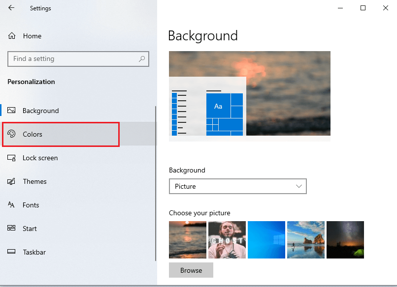 click open the 'Colors' section from the left panel on the screen. | Fix black desktop background in Windows 10