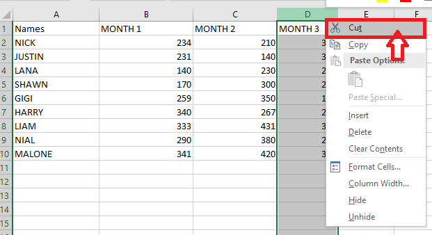 cut the selected column by right-clicking on the column and choosing the cut option.
