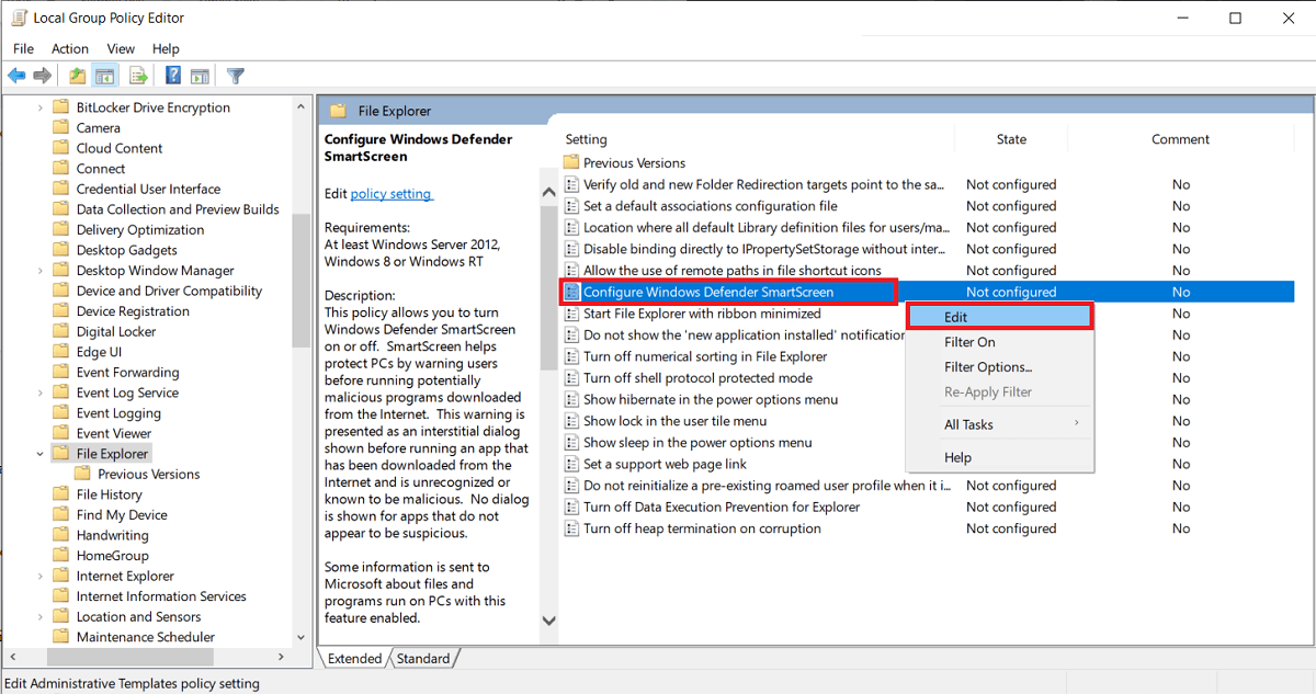 double-click (or right-click and select Edit) on the Configure Windows Defender SmartScreen item.