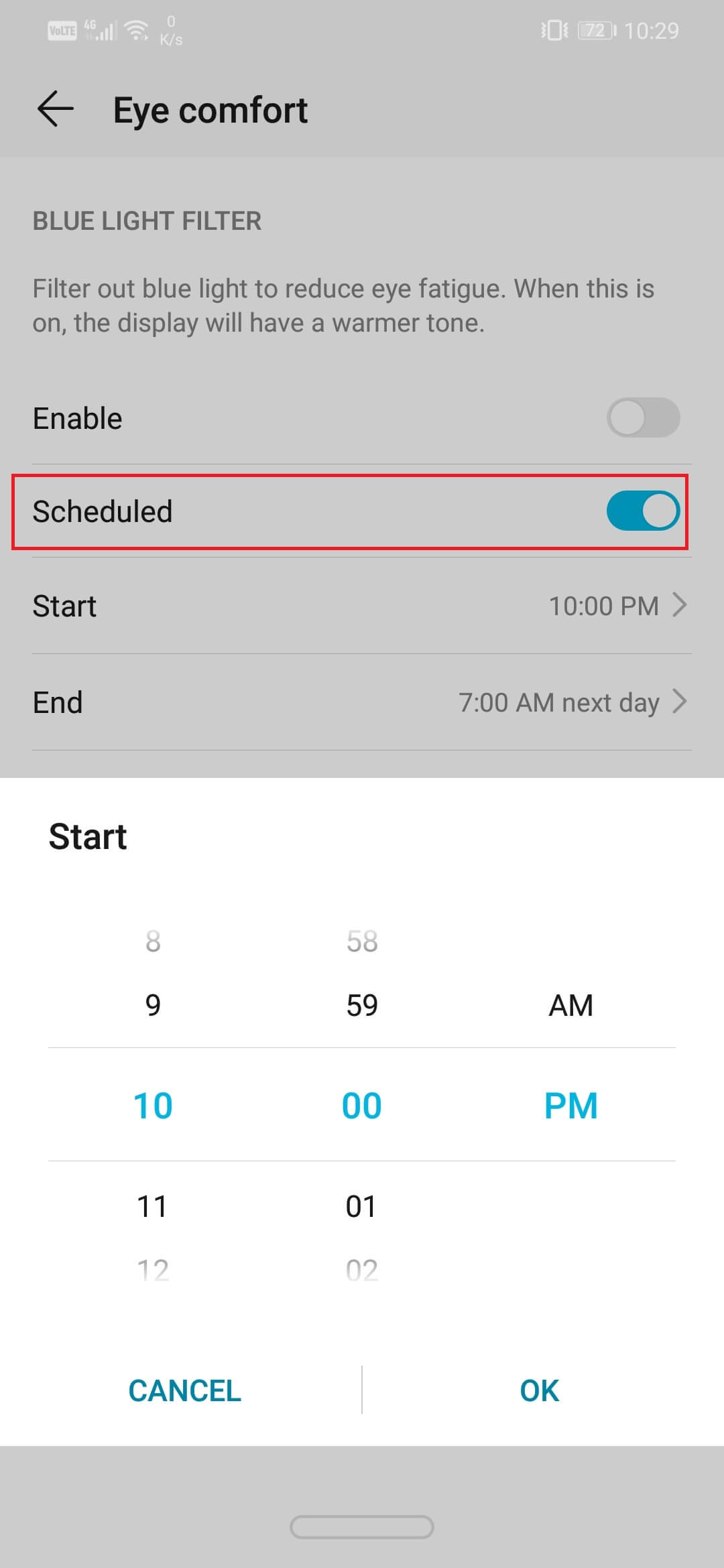 enable the toggle switch next to the Scheduled option.