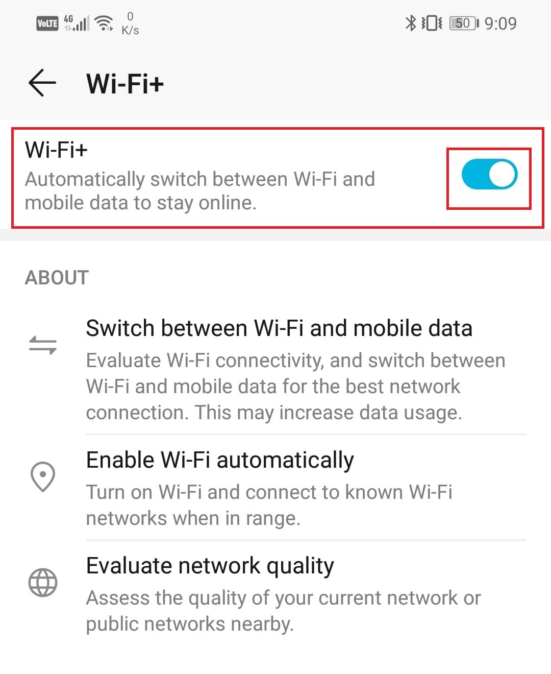 enable the toggle switch next to the Wi-Fi+ option. | boost Wi-Fi signal on Android